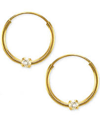 children s hoop earrings children s cubic zirconia accent endless hoop earrings in 14k