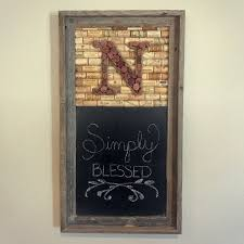 wine cork monogram and chalkboard in a barnwood frame rustic
