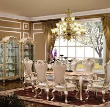 Luxurious Dining Table Luxury Dining Sets Dining Room Transitional With Beige Curtains