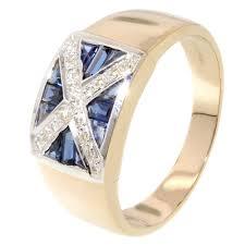 Wedding Flag Men U0027s Sapphire U0026 Diamond Scotland Flag Ring Jewellery World