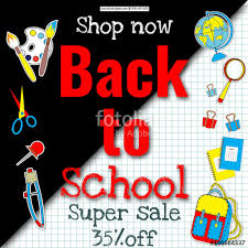 multi colored banner marketing sale background with school