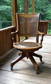 oak office chair swivel rattan desk chair vintage wood oak office chair swivel wheels cane back