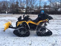 plowing with tracks can am atv forum