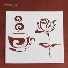 Plastic Photo Album Gift Facemile Rose Flower Coffee Cup Stencil Plastic Stencils For