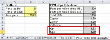 Capability Study Excel Template Attribute Cp Cpk Calculator In Excel