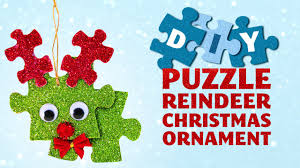diy puzzle reindeer christmas ornament christmas crafts for kids