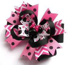 handmade hair bows minnie boutique mouse pink and black handmade hair bow baby