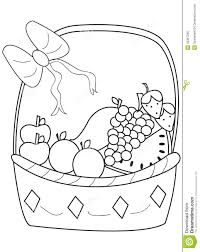a basket of fruits drawing coloring free printable fruit coloring