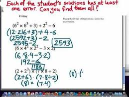 find the errors math lesson worksheet on order of operations