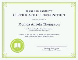 green border teacher recognition certificate templates by canva