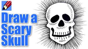 how to draw a scary skull real easy youtube