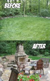 outdoor living area before after c e pontz sons landscape and