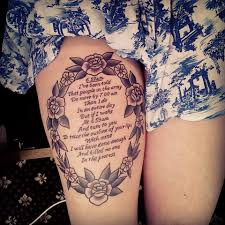 thigh quotes tattoos work in progress photo army and love tattoos u0026 piercings