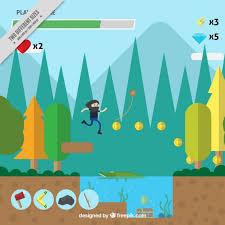 design games to download background of platform video game with a landscape in flat design