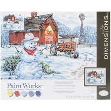 amazon com dimensions paint by number craft kit country snowman