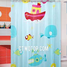 baby blue and fish patterned underwater cute unique shower curtains