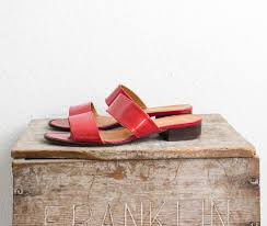 90s ralph lauren patent leather red sandals block heel flats