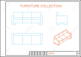 floor plan couch blueprint of sofa vector front view top view and side view