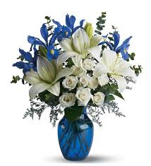 white lillies sophisticated blue and white flower mixed bouquet with white