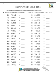multiplication fact sheets