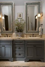 french country bathroom gray washed cabinets mirrors with benevola