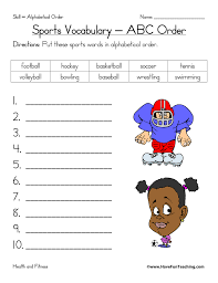 sports alphabetical order worksheet have fun teaching