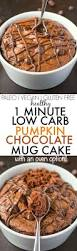 healthy 1 minute low carb pumpkin chocolate mug cake