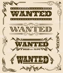 vintage wanted dead or alive western poster vector frame ornament