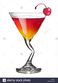 martini cherry mary pickford alcoholic cocktail in a glass decorated with