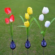 Lumiparty Led Solar Powered Tulip Flower Lights Garden Outdoor