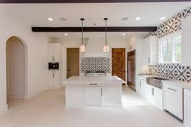 Mediterranean Kitchen Tiles - mediterranean kitchen with black and white cement tiles