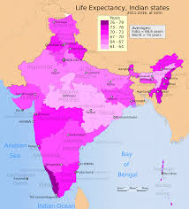 Indian Map A Map Of Indian States By Life Expectancy At Birth Maps Pinterest