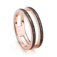 black diamond band band ring in 18ct gold vermeil on sterling