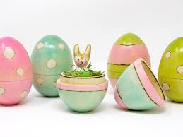wooden easter egg with mini bunny bunny peg doll hollow