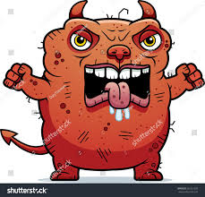 cartoon illustration ugly devil looking angry stock vector