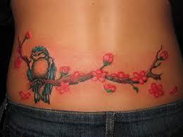 sparrow sit on cherry blossom tree tattoo on waist