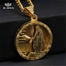 necklace gold jesus images Wholesale stainless steel gold standing jesus piece necklace round jpg