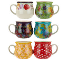pioneer woman garden meadow set of 6 jumbo ceramic mug set