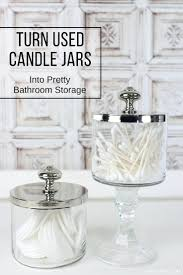 Bathroom Storage Jars How To Turn Used Candle Jars Into Pretty Bathroom Storage S