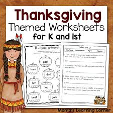 thanksgiving worksheet packet for kindergarten and grade