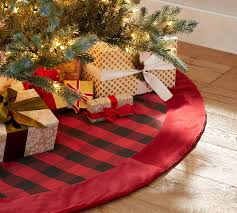 plaid tree skirt buffalo check tree skirt with velvet cuff pottery barn