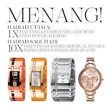 Jam Tangan Esprit Malaysia peraduan esprit cetusan gaya terkini menangi jam tangan bernilai