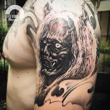 hannya mask tattoo black and grey tattoo art studio magu zeist utrecht netherlands