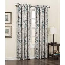 Blue And Beige Curtains Sun Zero Semi Opaque Abington Floral Printed Room Darkening