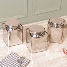 funky kitchen tea coffee sugar classic silver tea coffee and sugar tin canisters