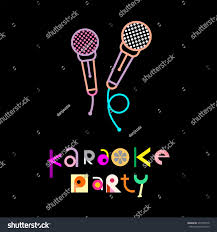 karaoke party decorative text architecture on stock vector