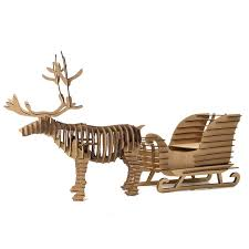 decoration reindeer sled toys for children diy 3d puzzle