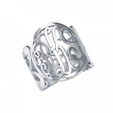 Sterling Silver Monogram Rings Monogram Script Cuff Ring 18mm Personalized Jewelry