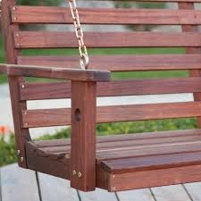 5 ft wood porch swing with stand with oil stain finish