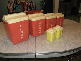 vintage 4 pc kitchen canister set rare coral color by cyclecity